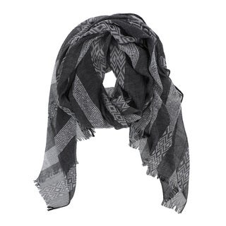 Black Geometric-striped Fringed Scarf