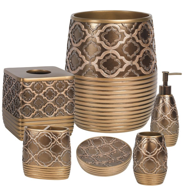Gold Medallion Bath Accessory Set or Separates