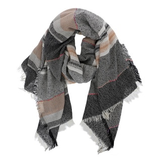 Navy Viscose Multi-stripe Scarf
