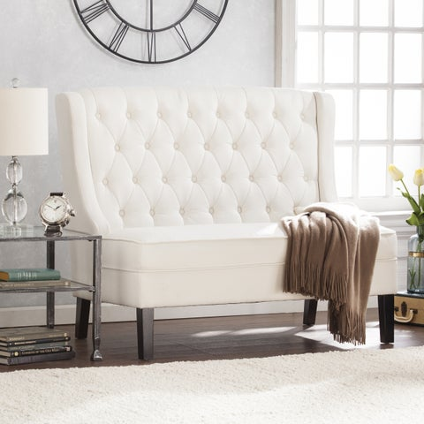 Harper Blvd Lincoln High-Back Tufted Settee Bench - Ivory