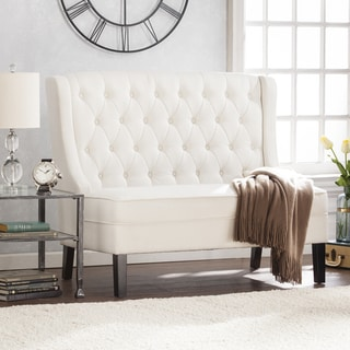 Harper Blvd Lincoln High Back Tufted Settee Bench   Ivory Part 83