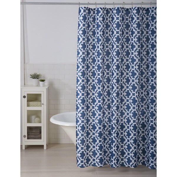 Leila Collection Printed Shower Curtain With Roller Hooks