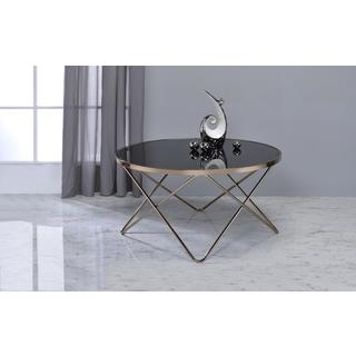 Acme Furniture Valora Black Glass and Champagne Metal Coffee End Table