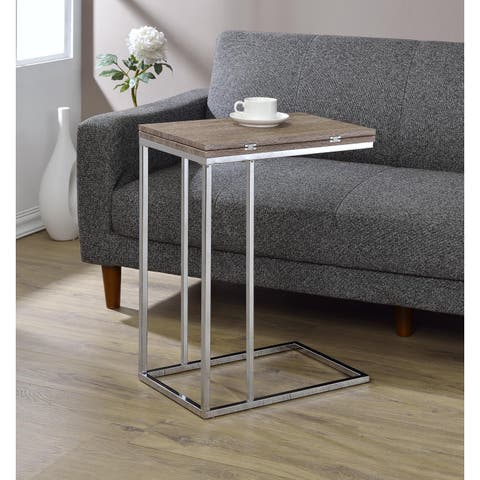 Acme Furniture Danson Weathered Oak Top and Chrome Frame Extendable Swivel Side Table