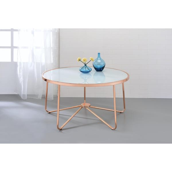 Acme Furniture Alivia Rose Gold Metal And Frosted Gl Coffee Table
