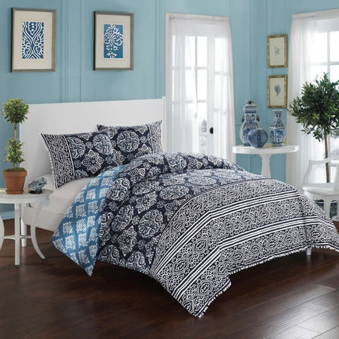 LUX-BED Reversible 3-Piece Peridot Navy Pom Pom Trim Comforter Set