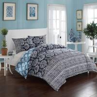 LUX-BED Reversible 3-Piece Peridot Navy Pom Pom Trim Comforter Set