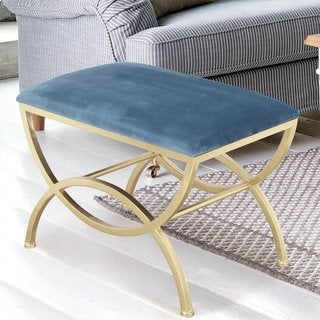 Adeco Velvet and Metal Base Ottoman Bench