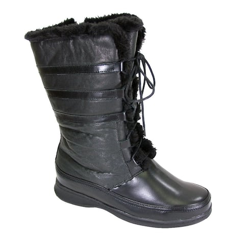 Fic Peerage Women's Joan Extra-wide Leather/Lace Zippered Mid-calf Boots