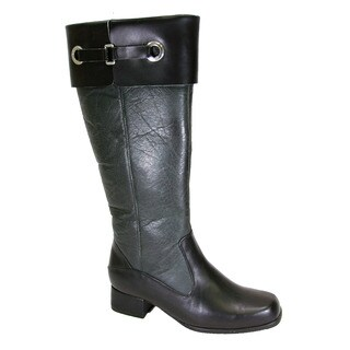 FIC Peerage Taylor Women's Black Leather Extra-wide-width Knee-high Boots
