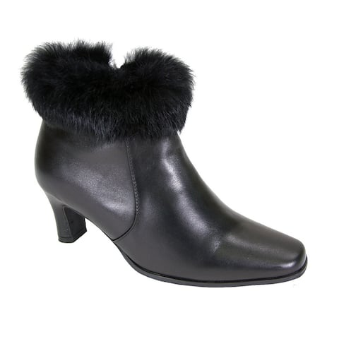 Fic Peerage Women's Venus Leather/Fur-collared Extra-wide Dress Booties
