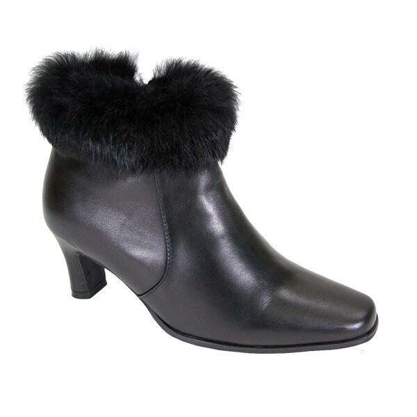 b5d1e7d1c163 Shop Fic Peerage Women s Venus Leather Fur-collared Extra-wide Dress ...
