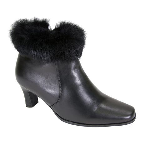Fic Peerage Womens Venus Leather/Fur-collared Extra-wide Dress Booties
