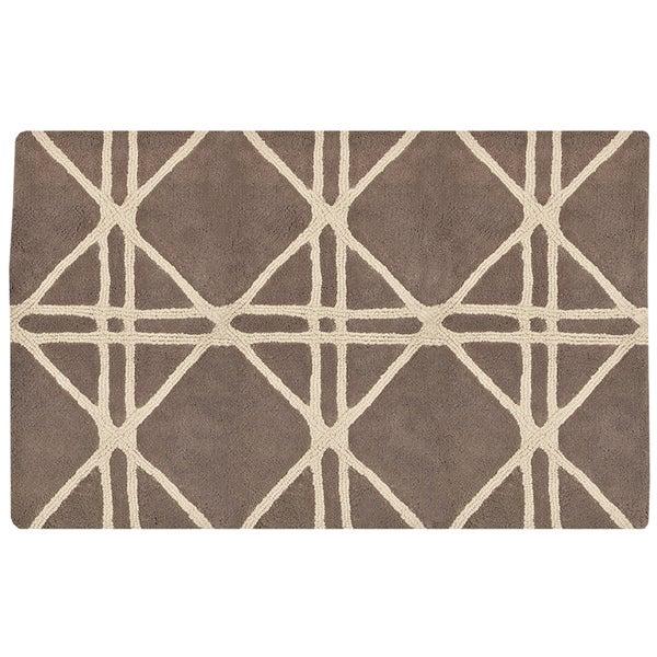 LaMont Home Luxenberg Tan/ Ivory Geometric 20-inch x 30-inch Bath Rug