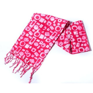 Hand Batiked Pink Fringed Scarf - World Peaces (Ghana)