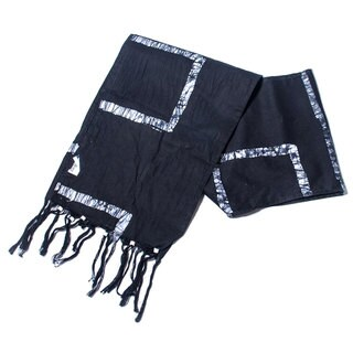 Hand Batiked Black Fringed Scarf - World Peaces (Ghana)