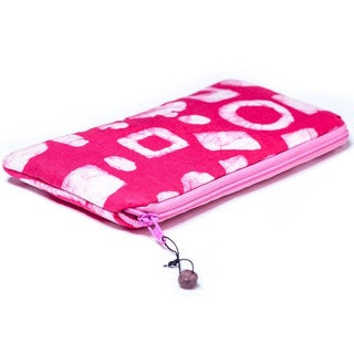 Handmade Hand Batiked Pink Clutch Purse - World Peaces (Ghana)