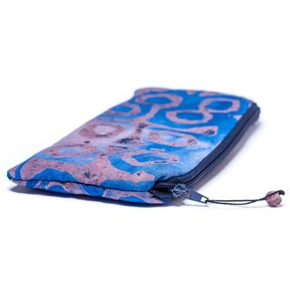Handmade Hand Batiked Blue Clutch Purse - World Peaces (Ghana)