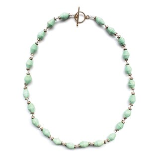 Handmade Seafoam Single Strand Magazine Bead Necklace - Imani Workshops (Kenya)