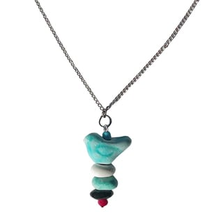 Handmade Aqua Bird Pebble Necklace - Imani Workshops (Kenya)
