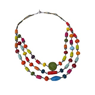Handmade Funky Multicolor Three Strand Necklace - Imani Workshops (Kenya)