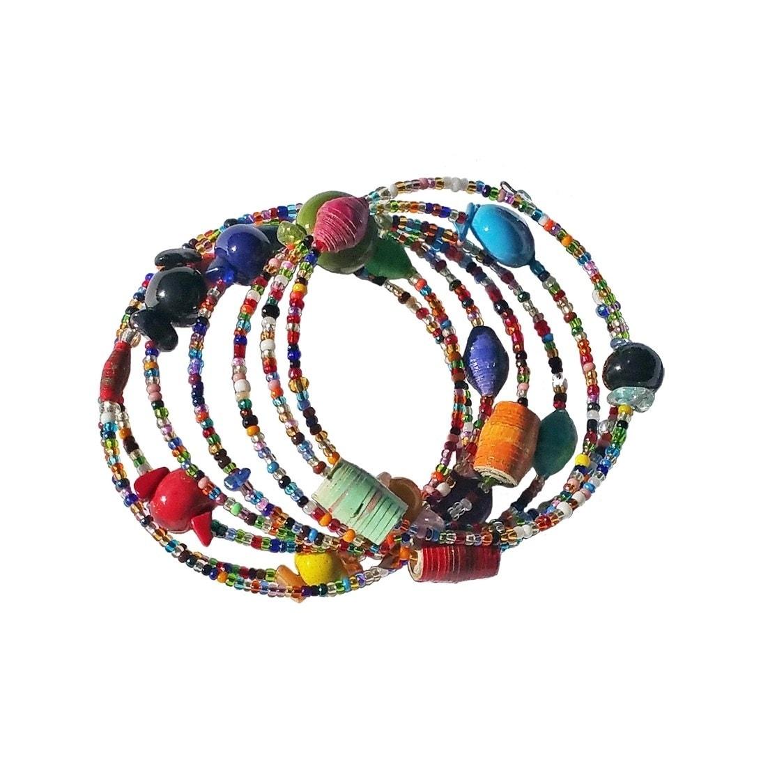 Global Crafts Handmade Multicolor Funky Sprial Bracelet -...
