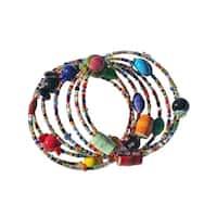 Handmade Multicolor Funky Sprial Bracelet - Imani Workshops (Kenya)