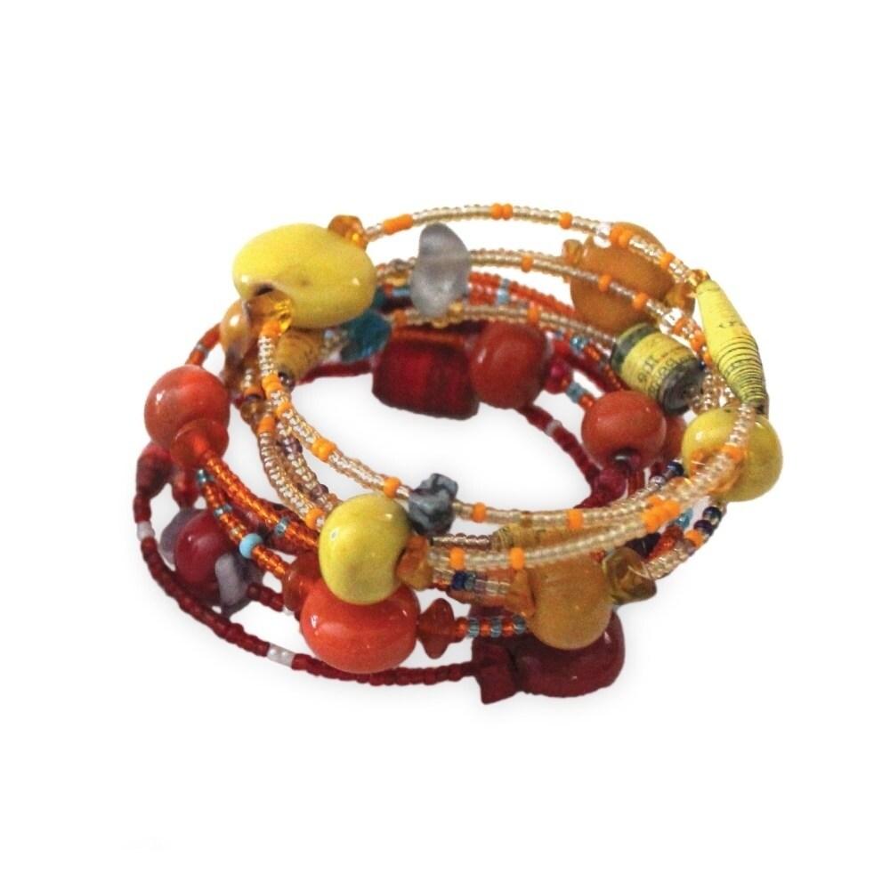 Global Crafts Handmade Fire Funky Sprial Bracelet - Imani...
