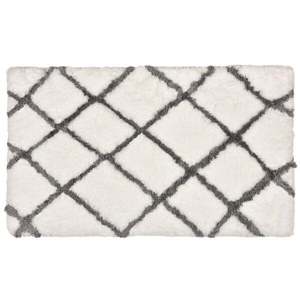 LaMont Home Ryker Grey/ White Cross Hatch Bath Rug