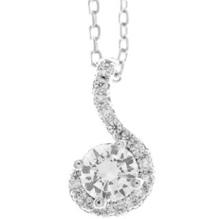 Matashi 18k White Goldplated Necklace with Spiral Design with 16-inch Extendable Crystal Chain