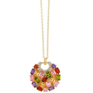 Matashi Rose Gold Chain with Multicolored Stone Crystal Pendant
