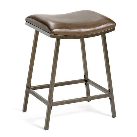 Hillsdale Furniture Brown Copper/Brown Vinyl Nested-leg Saddle Counter/Bar Stool