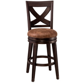 Hillsdale Furniture Santa Fe Distressed Espresso Swivel Counter Stool With Brown Faux Suede