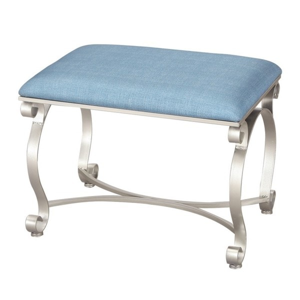 Shop Adeco Euro Style Light Blue Fabric Bench/Ottoman