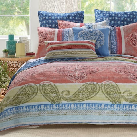 Barefoot Bungalow Hillsborough Coral 3-Piece Quilt Set