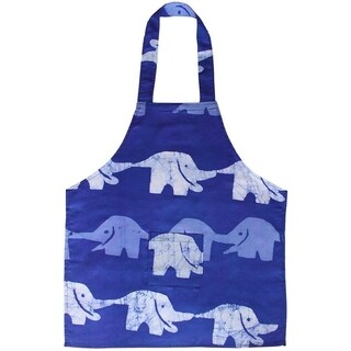 Handmade Blue Elephants Children's Apron - Global Mamas (Ghana)
