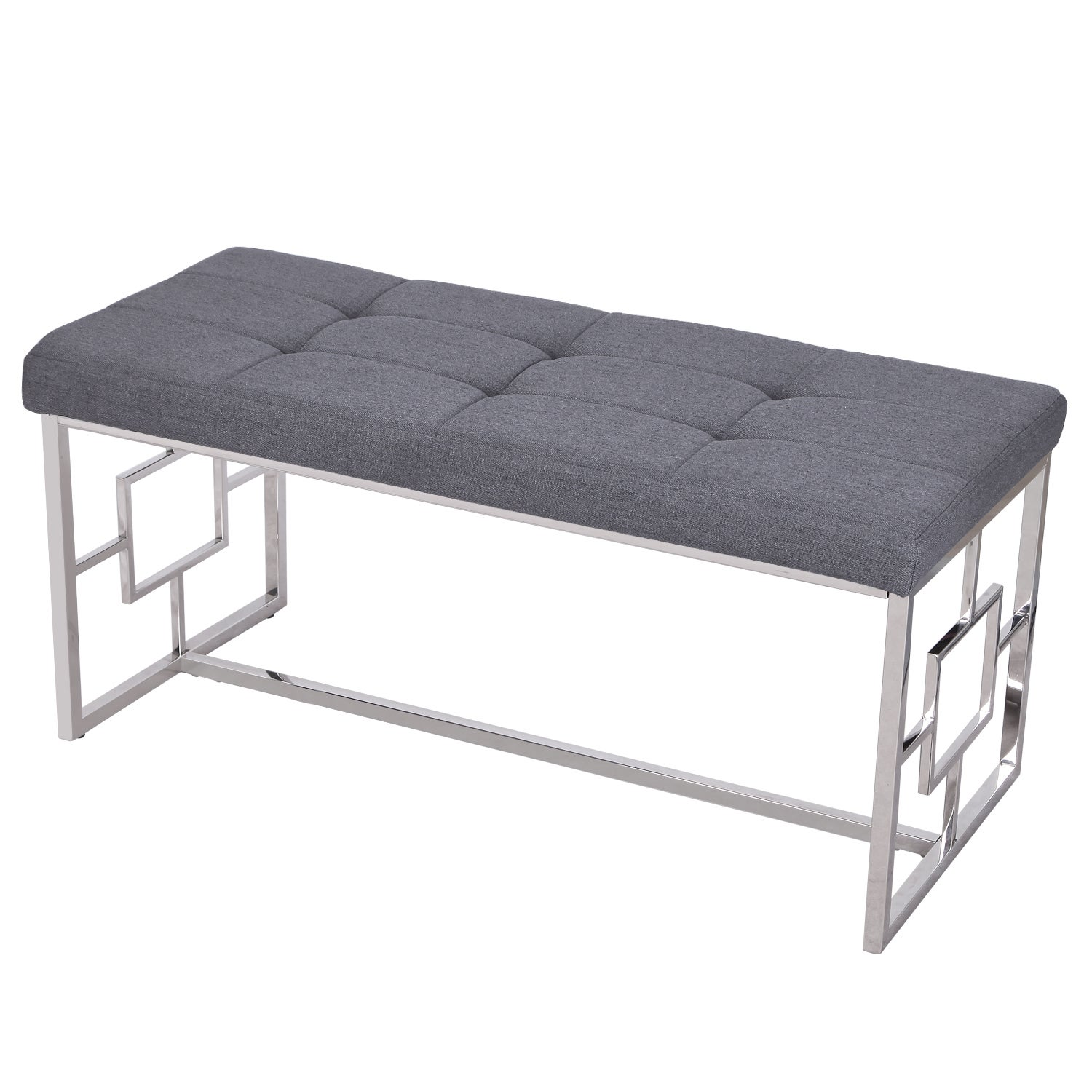 adeco stainless steel bench entryway footstool grey  ebay - picture  of