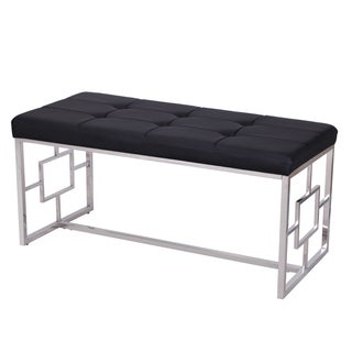 Adeco Stainless Steel Bench Entryway Footstool