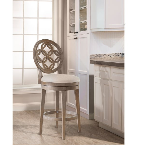 Copper Grove Dolnabanya Vintage Grey Swivel Counter Stool with Oyster Fabric