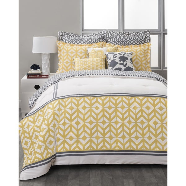 Style Nest Palm Springs Loft Yellow and Grey 8-Piece Bedding Set