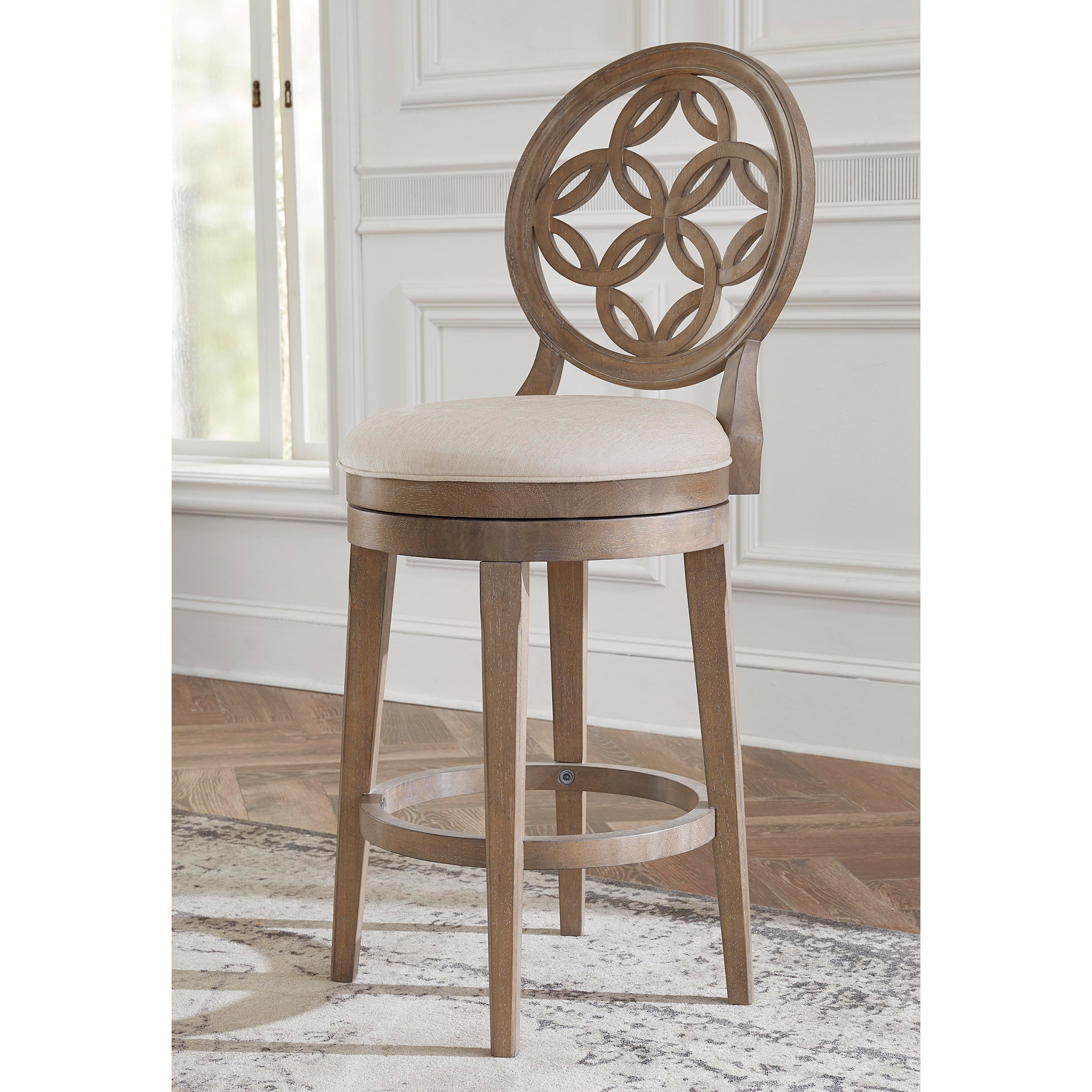 Savona Vintage Gray Swivel Bar Stool With Oyster Fabric By Hillsdale