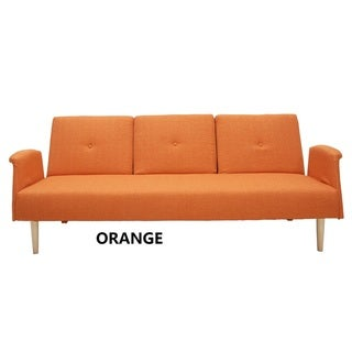Fabric Fiber Soft Cushion Sofabed Lounge with Arms and Wood Legs (Orange)