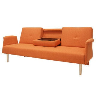 Fabric Fiber Soft Cushion Sofabed Lounge with Arms and Wood Legs
