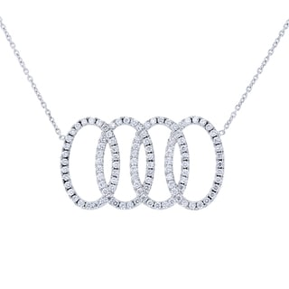 "Annello by Kobelli Platinum 5/8ct TDW Diamond Overlapping Ovals Necklace 16"" (GH, SI2)"