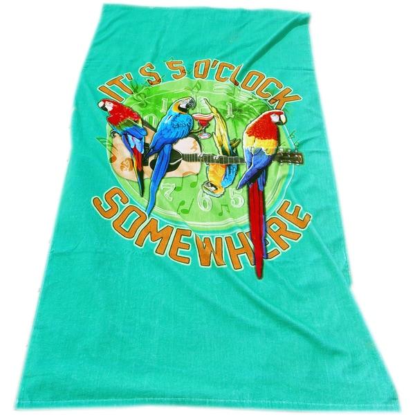 Margaritaville Rockin' Parrots Peacock Green Beach Towel