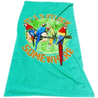 Margaritaville Rockin' Parrots Peacock Green Beach Towel