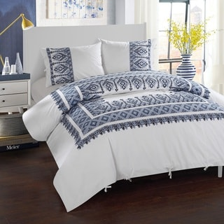 LUX-BED Cotton Hand Embroidered 3-Piece Pearce Garden Duvet Cover Set