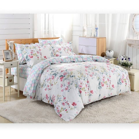 Dolce Mela Perugia 6-piece Cotton Duvet Cover Bedding Set with Fitted Sheet