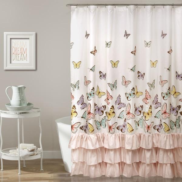 Lush Decor Flutter Butterfly Shower Curtain