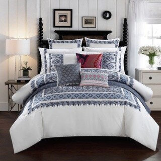 LUX-BED Cotton Hand Embroidered 3-Piece Pearce Garden Comforter Set